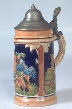 """Vintage 5.5"""" Beer Stein Germany Glass Pewter Lid People Drinking On Keg Castle"""