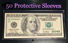 50 SEMI-RIGID Vinyl Money Protector Sleeves US Dollar Bill CURRENCY HOLDERS BCW