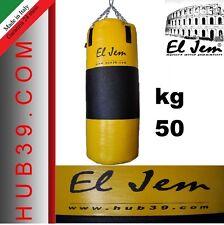 """SACCO BOXE PIENO 50Kg GIALLO E NERO  h100 """"IO SONO ITALIANO"""" EL JEM"""
