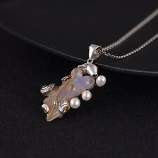 I05 Pendant Silver 925 Fish Reddish-Brown Agate with 3 Pearls