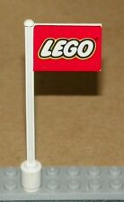 LEGO - Flag on Flagpole, Straight with Red Lego Pattern - White - RARE