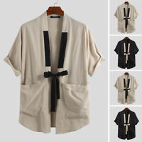 Summer Men's Retro Japanese Kimono Top Beach Cool T Shirt Outwear Coat Shirt Tee