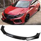 For Honda Civic Hatchback Si Front Bumper Lip Splitter Spoiler Glossy Black