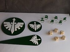Warhammer 40K 40000 Blast Templates, Dices, Tactical Bundle Dark Angels