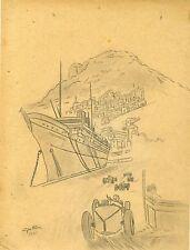 """""""GRAND PRIX DE MONACO 1931"""" Crayon et fusain sur papier entoilé d'après Géo HAM"""