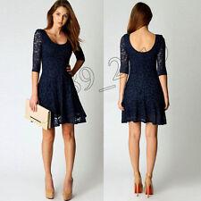 Fashion Summer Women Lace Three Quarter Party Evening Short Mini Dress US