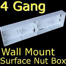 4 GANG / 4 x SINGLE Switch / Socket WALL MOUNT SURFACE BOX DIY Wiring Material