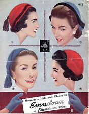 Emu 432 Vintage Knitting Pattern,  early 1950s Ladies Hats Gloves 4 ply