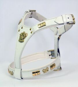 STAFFY DESIGNER DOG HARNESS WITH  KNOT FULLY PADDED WHITE COLOUR BRASS FITTING