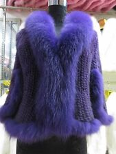 Elegance/Real best Fox collar Mink fur knitted wraps with sleeves /coat/violet