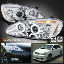 For 2003-2008 Toyota Corolla Dual Halo+LED Projector Headlights Left+Right