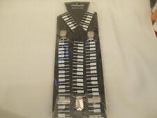Unisex Mens Piano Keys Print Braces Elastic Suspenders New