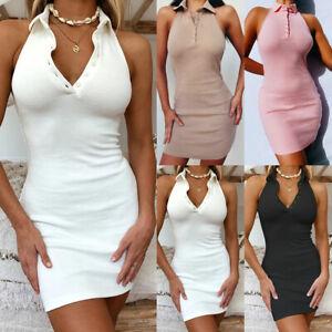 Holiday Womens Button Strechy Bodycon Dress Summer Backless Sexy Club Mini Dress
