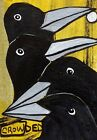 ACEO ORIGINAL Painting~2 MANY CROWS~CROWDED~MOON~FIGURATIVES~OUTSIDER~SMOODY