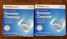 2 CVS Health Anti-Bacterial Denture Cleanser,40 Effervescent Tablets ea Exp02/23