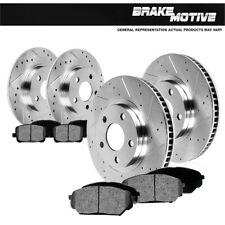 Front & Rear Drilled Slotted Brake Rotors And 8 Metallic Pads Fit