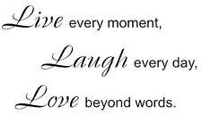 Black vinyl indoor decal wall sticker Live Laugh Love