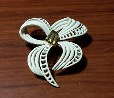 VTG Signed Monet Brooch Jewelry White Enamel Gold Tone Ribbon Bow Pin