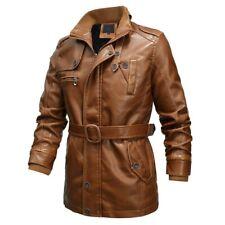 Mens Motorcycle Jacket Fleece Lined Trench Coat Belted Windbreaker Zip Outwear