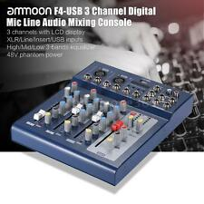 F4 3 Channels XLR W/ USB MP3 Input Interface Audio Mixer Console EU I8A8