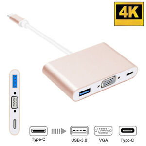 3-in-1 Multi Function USB 3.1 to VGA Multiport Adapter 1080P HD Video Converter
