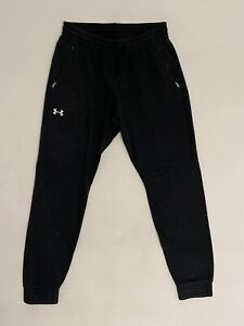 Mens UNDER ARMOUR Charger Track Bottoms Joggers Size L Black wt Zip Pockets