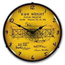 Nostalgic Style Backlit Led Lighted 1906 Wright Flyer Patent Man Cave Wall Clock