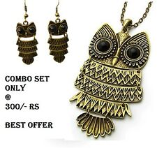 RF COMBO(PENDANT+EARRINGS)  BRONZE Owl Pendent Necklace Set Long Sweter Chain