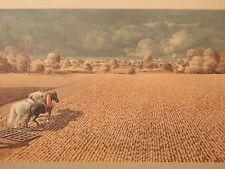 HUGE WERNER PEINER ART GERMAN FARM LANDSCAPE PRINT DEUTSCHE ERDE ANTIQUE PICTURE