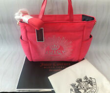 JUICY COUTURE LARGE JUICY FLAG PINK VELOUR BABY CHANGING BAG BNWT RRP £320