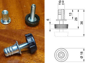 Adjustable furniture table glide levelling feet, THREADED FEMALE INSERT INCLUDED