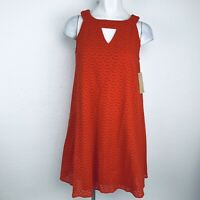 HOPE & HARLOW Orange Eyelet Women Dress. Size Small. New With Tags