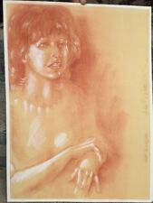 Original Pastel Portrait Woman Soft Amber Colors Signed
