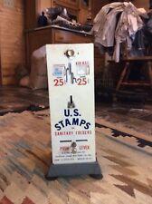 Old Vtg US Mail Postage Metal Stamp Machine Dispenser Coin 25/25 Cent