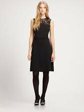 Tory Burch Adrianna Dress Black Wool Blend Lace Yoke A Line Size M