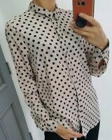 Asos River Island polka dot long sleeve button up satin shirt size UK 10
