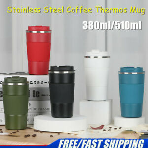 Insulated Coffee Mug Cup Thermal Stainless Steel Flask Vacuum Thermos UK