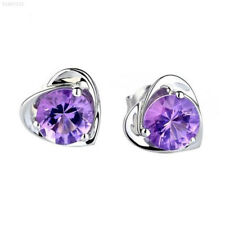 0496 925 Sterling Silver Heart Purple Crystal Shiny Ear Stud Earrings Lady Girl