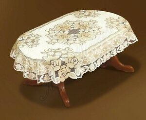 """Oval lace cream/dark gold Tablecloth NEW 51"""" x 71"""" perfect gift"""