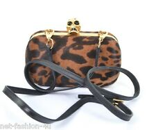 ALEXANDER McQUEEN OCELOT SKULL BOX CLUTCH SHOULDER BAG 2 IN 1 BNWT