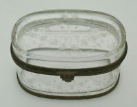ANTIQUE FRENCH ETCHED GLASS HINGED OVAL CASKET TRINKET JEWELRY BOX - MARKED