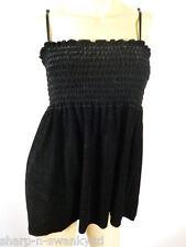 ☆ Ladies Black Velour Strappy Vest Top UK 10-12 EU 38-40 ☆