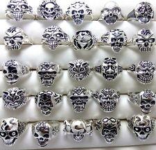 Mix Jot lots 50pcs Men Women Silver Gothic Biker Punk Skull Metal Rings SIZE MIX