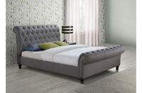 Luxury Fabric Button Sleigh Bed 4FT6 5FT 6FT
