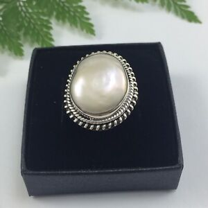 Stunning Large Natural Mabe Pearl Solid Sterling Silver Ring Size 9 R
