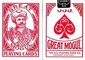 GREAT MOGUL [BEE SECONDS] POKER PLAYING CARDS DECK STANDARD INDEX RED.