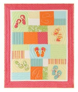 Colorful Flip Flops on the Beach Quilted Throw