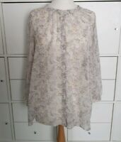 Uniqlo White multi Chiffon Sheer Floral Blouse top Size M 12 uk