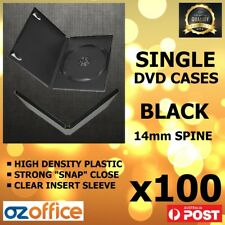 PREMIUM 100 x SINGLE BLACK DVD Case DVD Covers w/ Clear Outer Wrap 14mm Standard