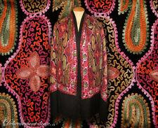 Très beau Châle 100% laine motifs cahemire brodés - CH180